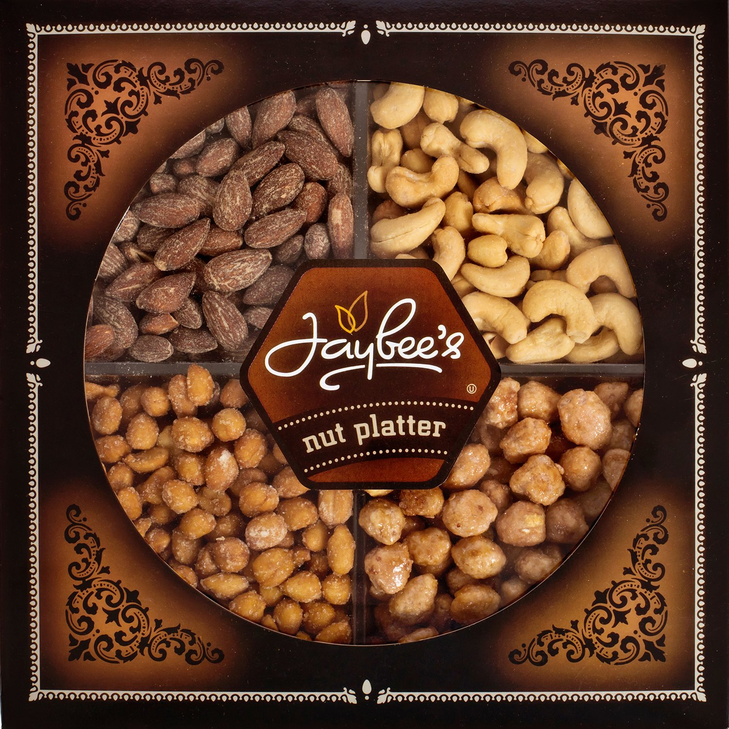 Jaybee's Nuts Gift Tray - Great Holiday, Corporate, Birthday Gift, or as Everyday Healthy Snack - Cashews, Smoked Almonds, Toffee & Honey Roasted Peanuts, Vegetarian Friendly and Kosher by Jaybee's (Image #4)