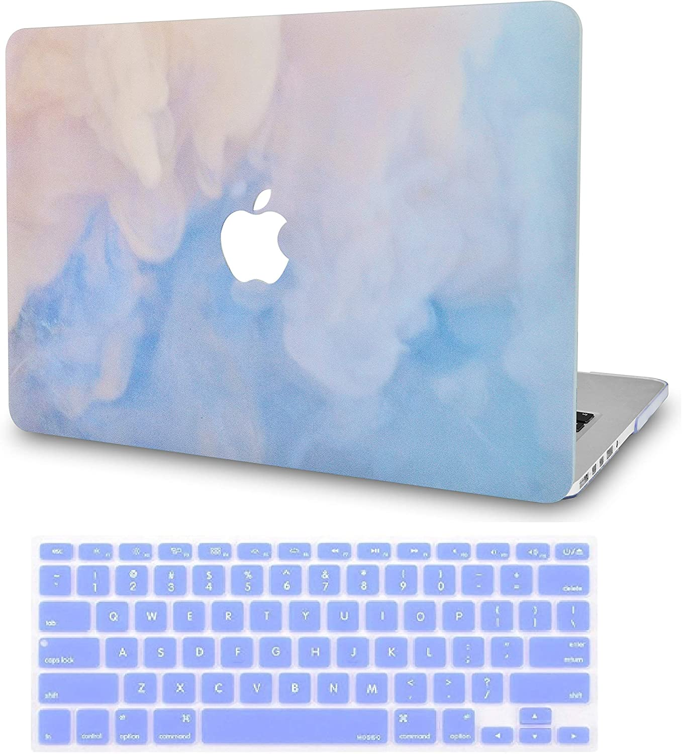 LuvCase 2 in 1 Laptop Case for MacBook Air 13 Inch (2020/2019/2018)(Touch ID) A2179/A1932 Retina Display Rubberized Plastic Hard Shell Cover & Keyboard Cover (Blue Mist)