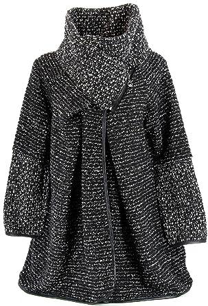 nouveau produit 61550 0ff44 Charleselie94® - Manteau Cape Laine Zip Hiver Grande Taille - Violetta -  Femme Noir 50