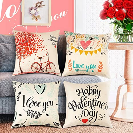 Amazon Com Watsabro Happy Valentine S Day Pillow Covers 4 Piece Linen Fiber Love Tree Bike Pillow Case Suitable For Home Decor Valentine S Day Decoration Christmas Decoration 18 X 18 Inch 45 X 45 Cm Home Kitchen