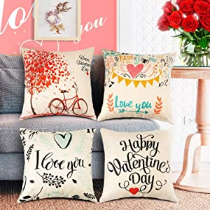 WATSABRO Happy Valentine's Day Pillow Covers, 4 Piece Linen Fiber Love Tree Bike Pillow Case, Suitable for Home Decor/Valentine's Day Decoration/Christmas Decoration(18 X 18 Inch/45 X 45 cm)