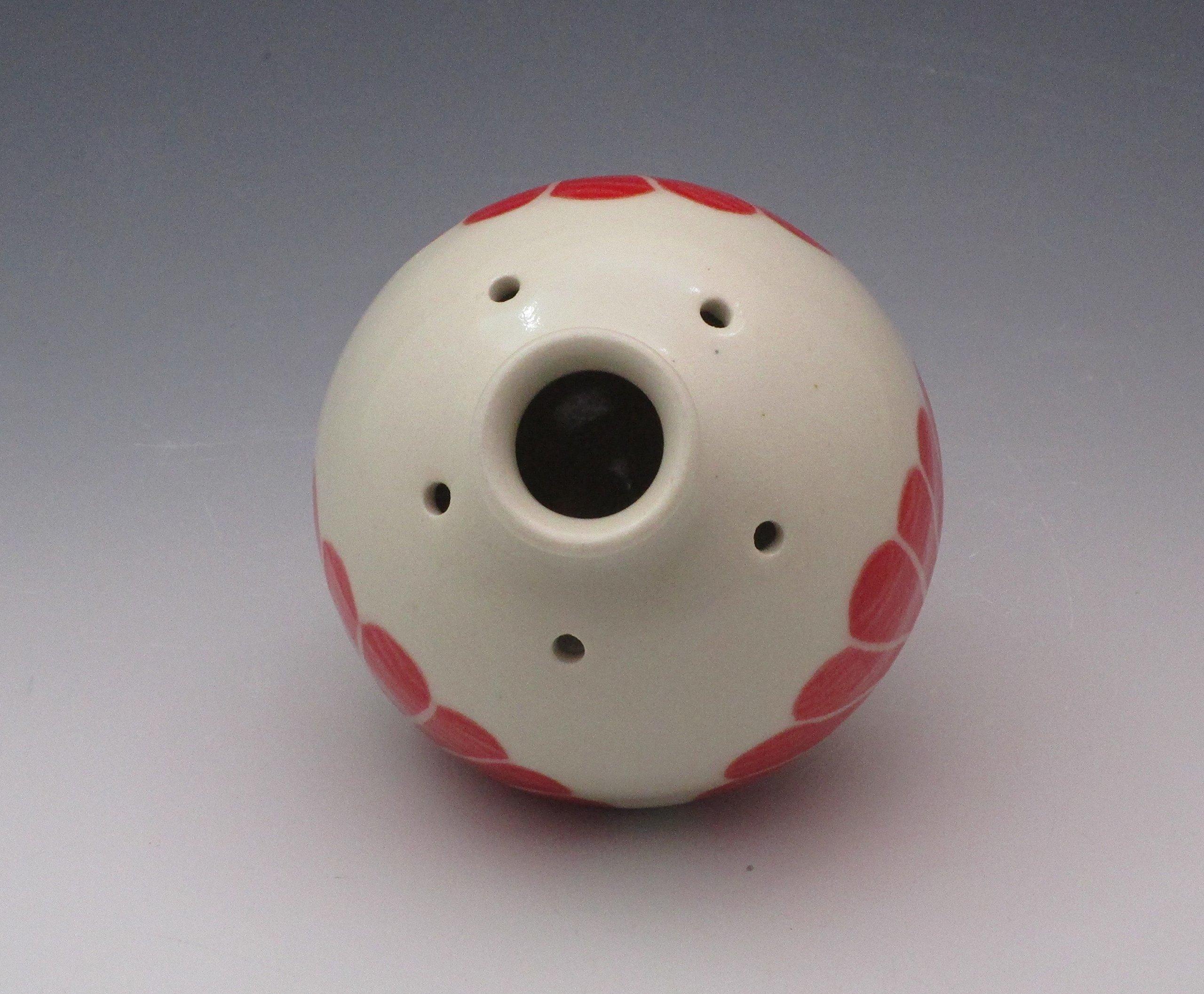 Porcelain Bud Vase, Essential Oil Reed Diffuser, Handpained in Red Flower design
