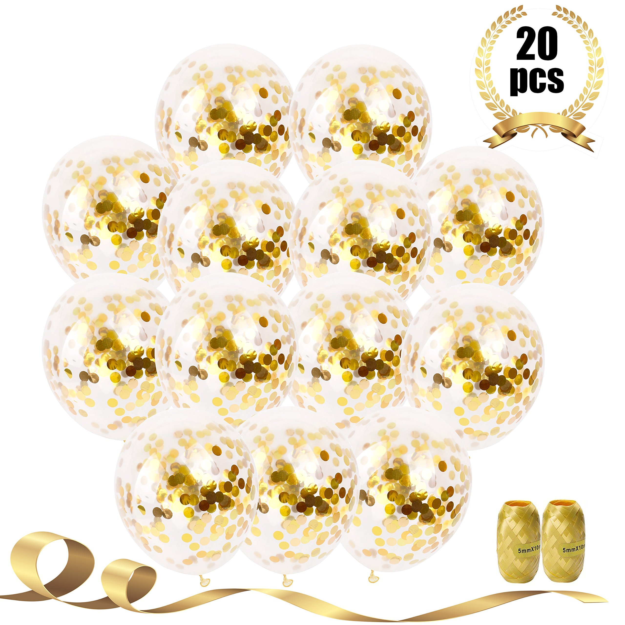 Party Deco 20 Pcs Gold Confetti Balloons, 12'' Large Party Balloons for Party Decorations, Birthday, Baby Shower, Bridal Shower, Graduation, Bachelorette Party with Gold Ribbon