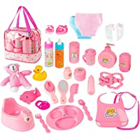 fash n kolor Doll Feeding Set   Set Includes Baby Doll, Doll Diapers, Diaper Bag, Magic Bottles, Makeup Set, Potty and…