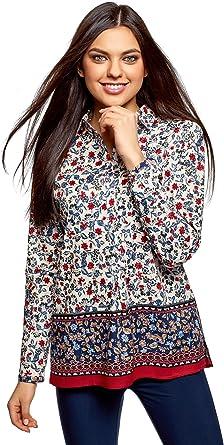 oodji Collection Mujer Blusa Estampada de Algodón Ligero