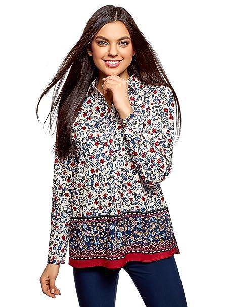 oodji Collection Mujer Blusa Estampada de Algodón Ligero,, 36 / XS