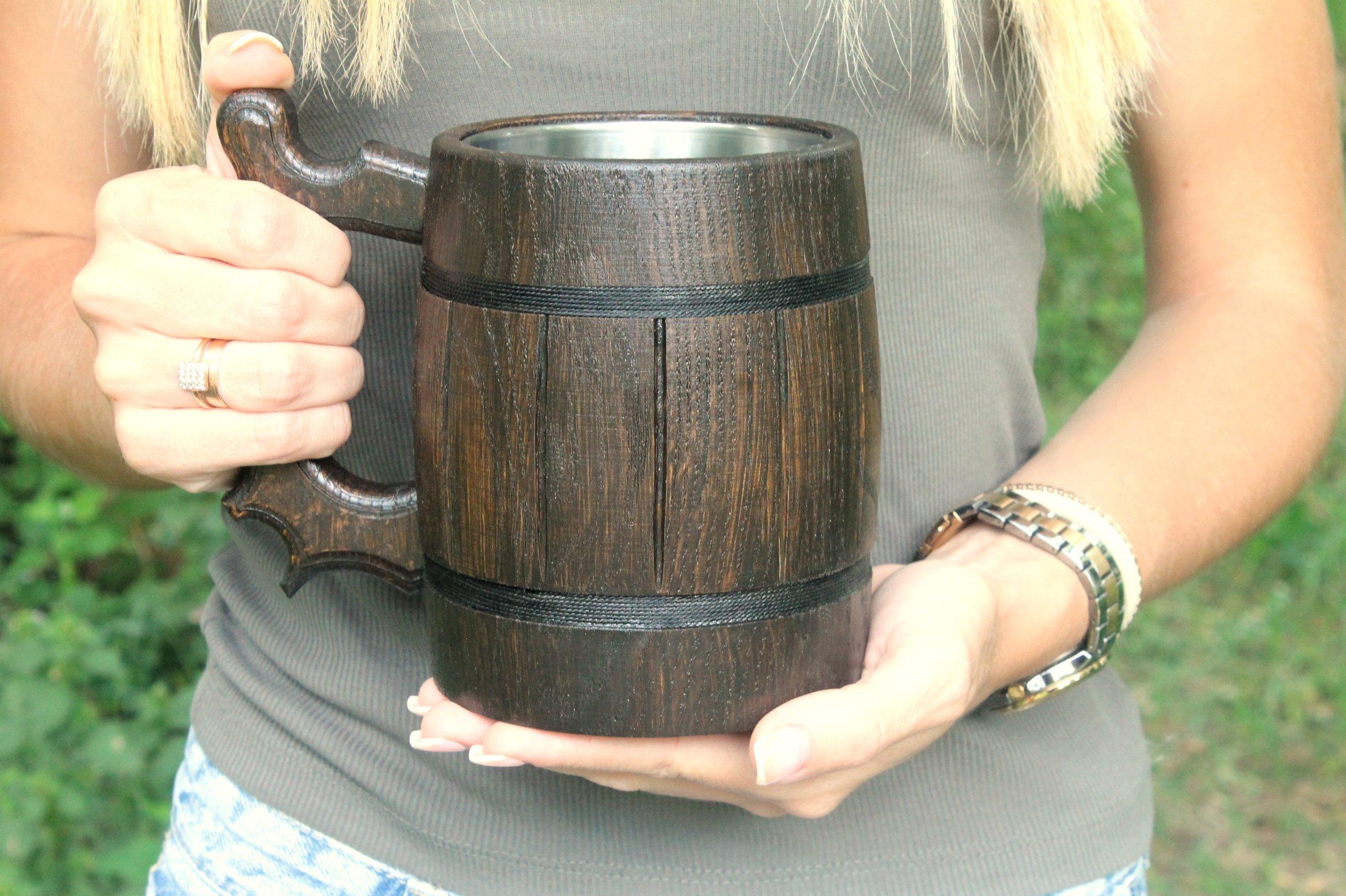 Wooden Beer Mug Eco-Friendly 20oz 0.6L Stainless Steel Cup Men Brown Wood Tankard Wedding Gift Beer Mug