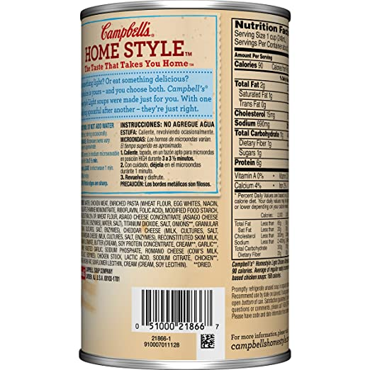 Amazon.com : Campbells Homestyle Light Soup, Creamy Chicken Alfredo, 18.8 Ounce (Pack of 12) : Grocery & Gourmet Food