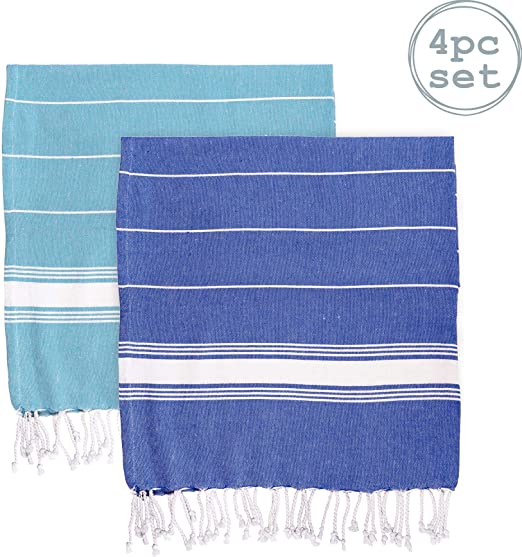 Toalla de baño - Microfibra de 100 % algodón Turco - Azul/Azul Marino - Pack de 4: Amazon.es: Hogar