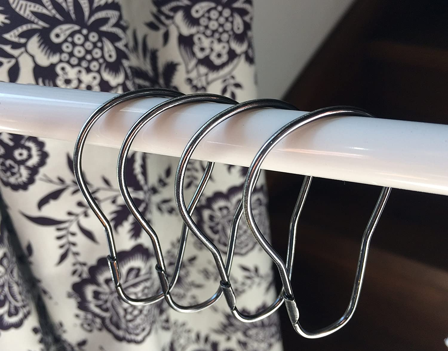 Chrome Finish Shower Curtain Rings Pack of 14 Units