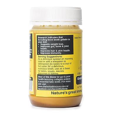 Gelatina de caldo de hueso de vacuno orgánico con miel, cúrcuma y jengibre - Apoya la salud de las articulaciones y mejora la inmunidad - Ingredientes ...