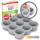 KIDDO FEEDO Food Storage Containers - Multipurpose Freezer Tray to Freeze Baby Food, Herbs, Ice Cubes, Sauces etc. - FREE eBook by Author/Dietitian, Gray