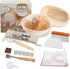 """JULKYA ARTISAN BREAD MAKING KIT, 9"""" AND 10"""" SOURDOUGH PROOFING BASKETS - SET OF 10 BREAD BAKING TOOLS FOR PROFESSIONALS AND HOME BAKERS +BONUS (1): 16 STENCILS +BONUS (2): LAME RAZORS WITH POUCH"""