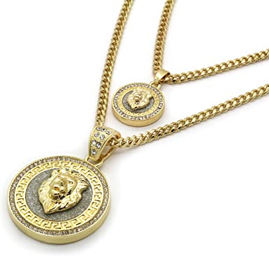 Mens 14k Gold Plated Hip Hop Round Lion Cz Pendant 3mm 24 30 Cuban Chain Amazon Com