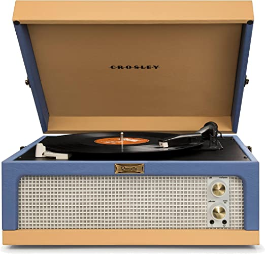 Crosley CR6234A-BT Dansette Junior Portable Turntable with Aux-In, Blue/Tan