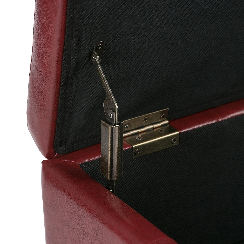 Simpli Home AXCOT-235-GL Dover 36 inch Wide Contemporary Square Storage Ottoman in Slate Grey Linen Look Fabric