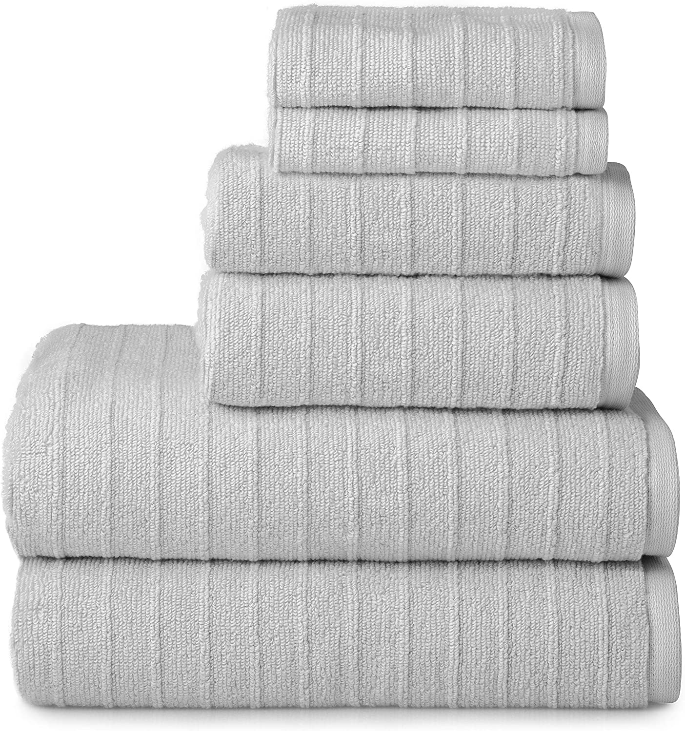 Welhome James 100% Cotton 6 Piece Towel Set | Silver Grey | Stripe Textured | Supersoft & Durable | Highly Absorbent & Quick Dry | Ideal for Everyday Use | 450 GSM | 2 Bath 2 Hand 2 Wash Towels