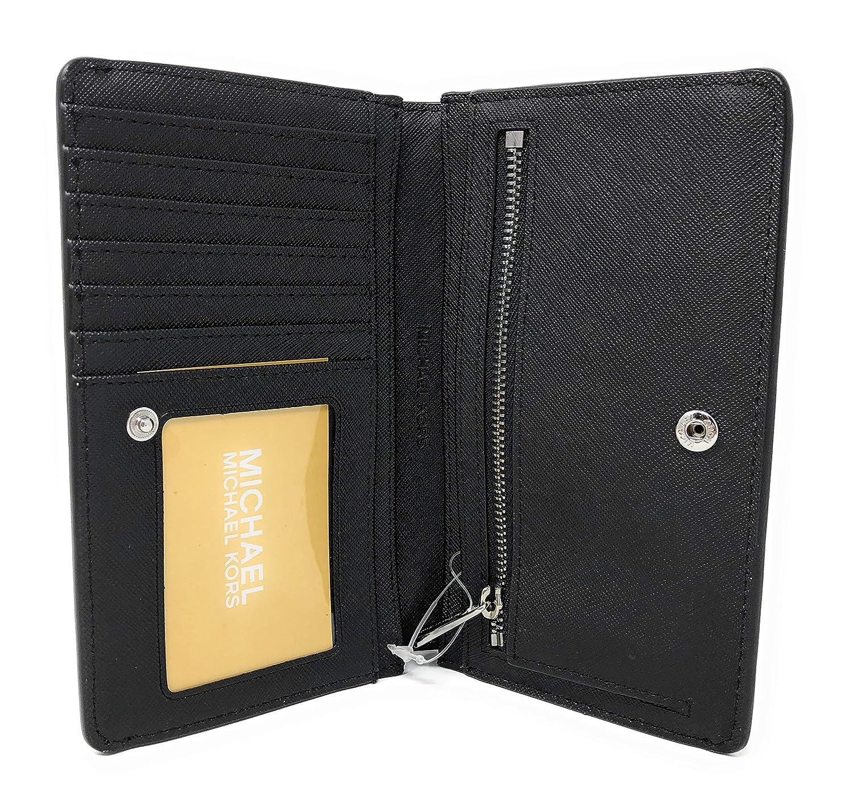 375819814fdfaf Michael Kors Jet Set Travel MK Signature Slim Bifold Wallet in Black:  Amazon.co.uk: Clothing
