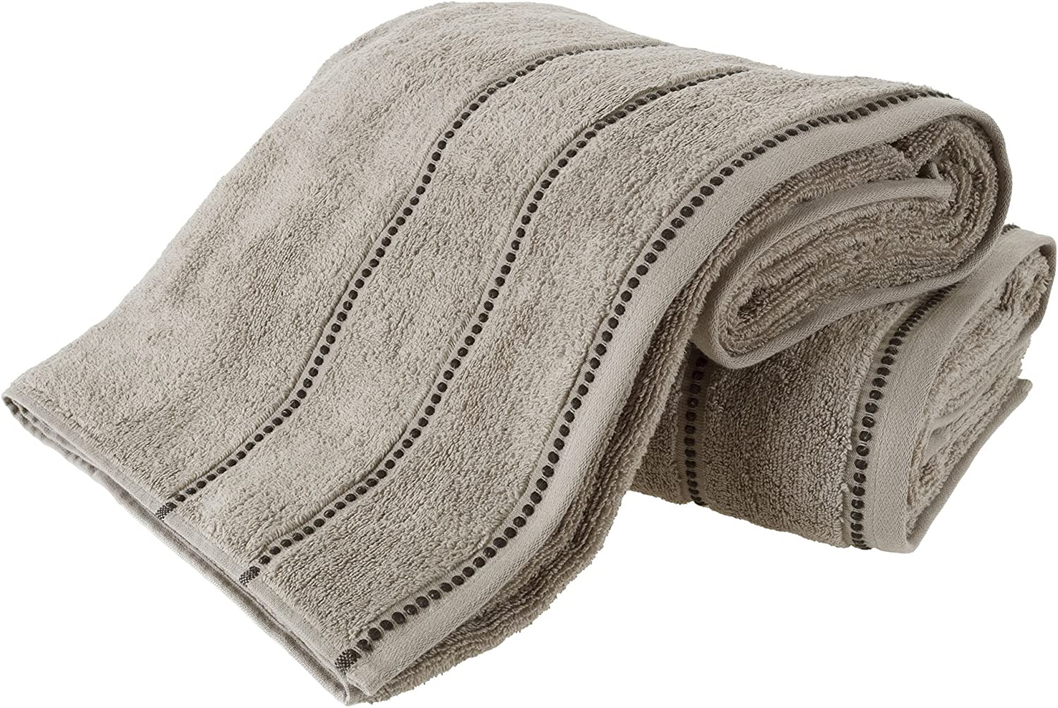 Luxury Cotton Towel Set- 2 Piece Bath Sheet Set Made From 100% Zero Twist Cotton- Quick Dry, Soft and Absorbent By Lavish Home (Taupe / Black)