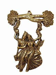 Trendy Crafts™ Metal Radha Krishna Jhula Idol Statue Wall Hanging for Home Decor Wall Decor Gift - 13 inches Height