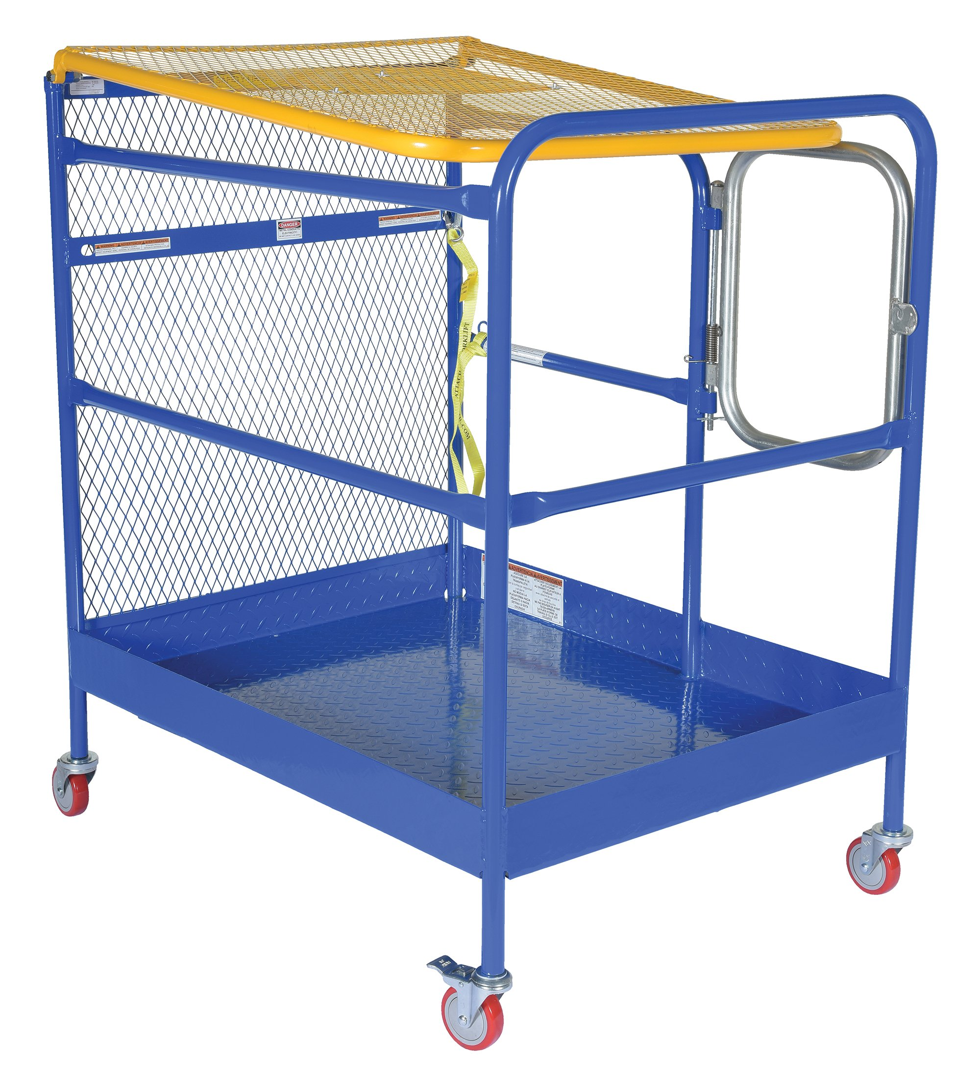 Vestil WP-3648-CA Steel Work Platform, 1000 lb Capacity, 36'' x 48'' with Casters, Powder Coat Blue, not for use in California