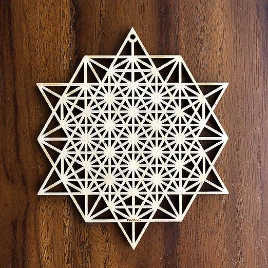 Laser Cut Artwork ZenVizion 13.5 Metatrons Cube Wall Art Sacred Geometry Wall Art Gift purpose Wooden Wall Art Decor Wall Sculpture Symbol Yoga Wall Art Hanging