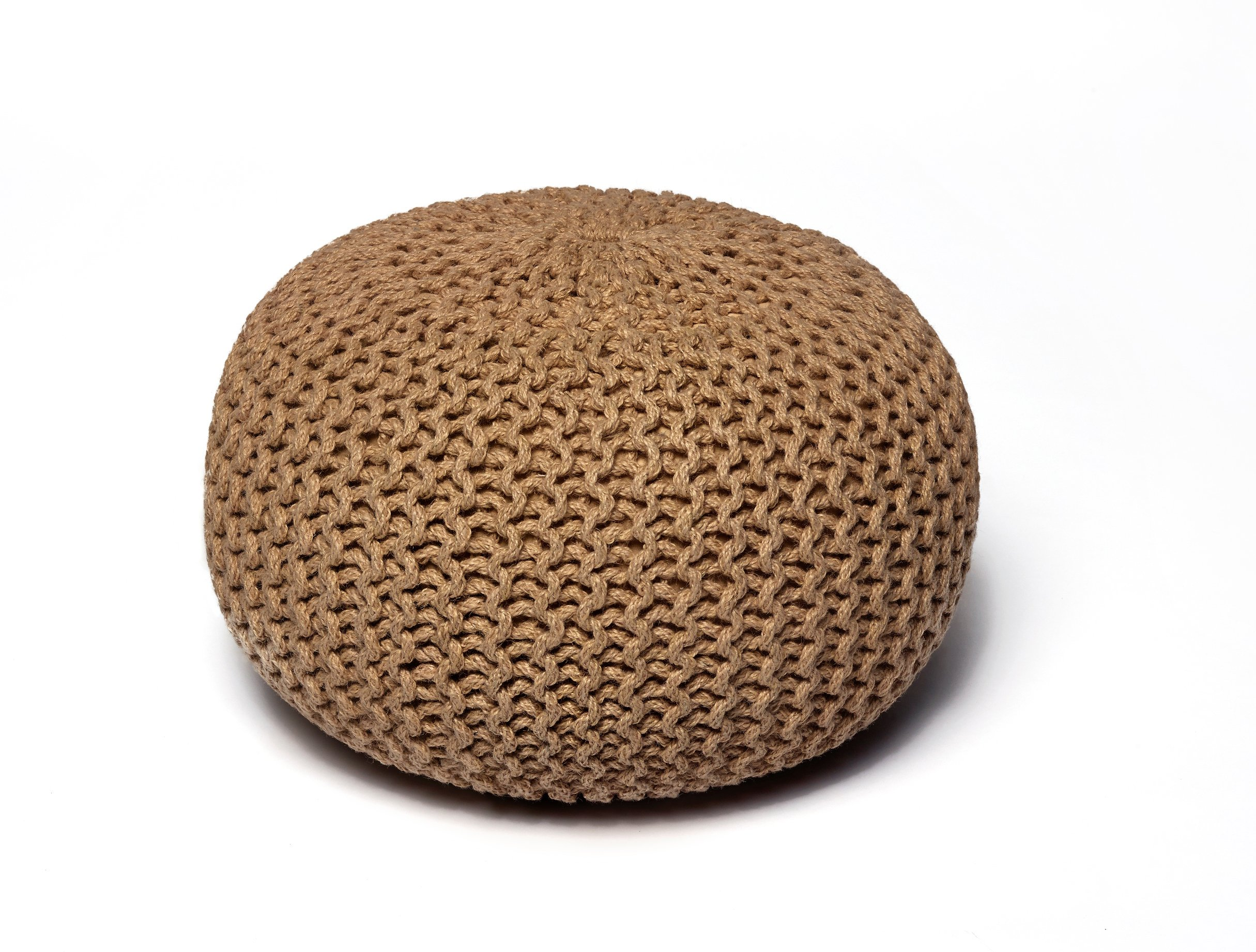 Anji Mountain AMB0009-16RD Round Jute Pouf, 16'', Natural Brown