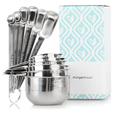 Stainless Steel Measuring Cups and Spoons: Durable, Elegant All-in-One Kitchen Measuring Set for Dry and Liquid Ingredients - Features 7 Narrow and Stackable Spoons and 6 Nesting Cups for Easy Storage
