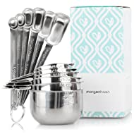 Stainless Steel Measuring Cups and Spoons: Durable, Elegant All-in-One Kitchen Measuring Set for Dry and Liquid Ingredients - Features 6 Narrow and Stackable Spoons and 6 Nesting Cups for Easy Storage