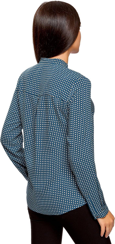 oodji Collection Mujer Blusa de Viscosa Estampada con Cuello Mao ...