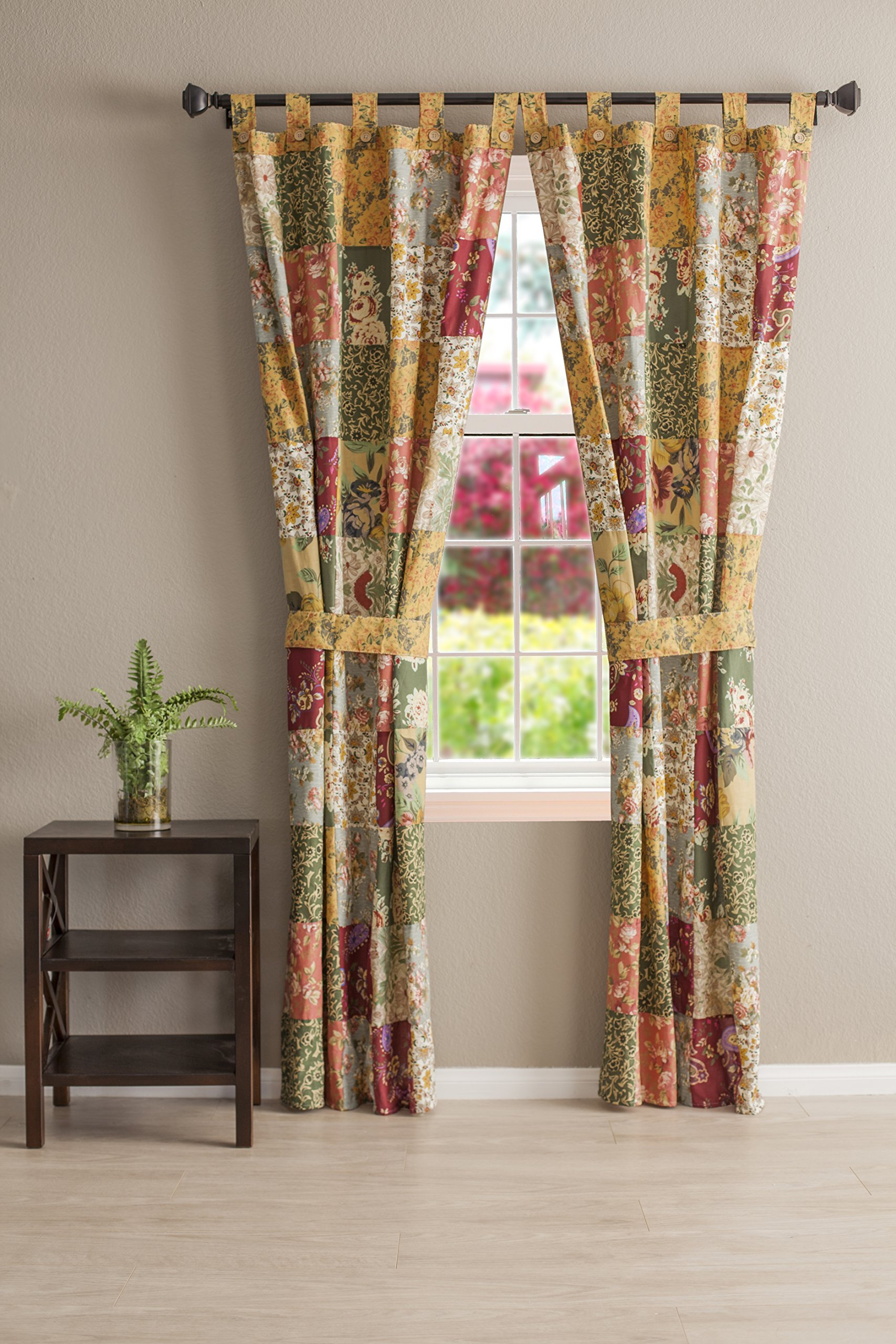 Greenland Home Antique Chic Patchwork Panel Pair - Patchwork panels coordinate with the Antique Chic window valance's charming floral prints and paisleys (sold separately), Antique Chic combines the easy care of 100% cotton with updated retro styling Each set features two panels and two tie backs Made In China - living-room-soft-furnishings, living-room, draperies-curtains-shades - 91gNxuYrDNL -