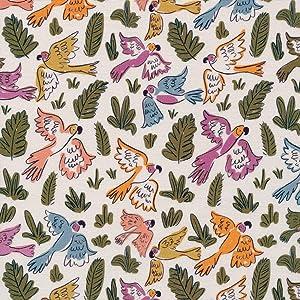 Cloud9 Quilt Fabrics Organic Garden of Eden Joyous Parrots
