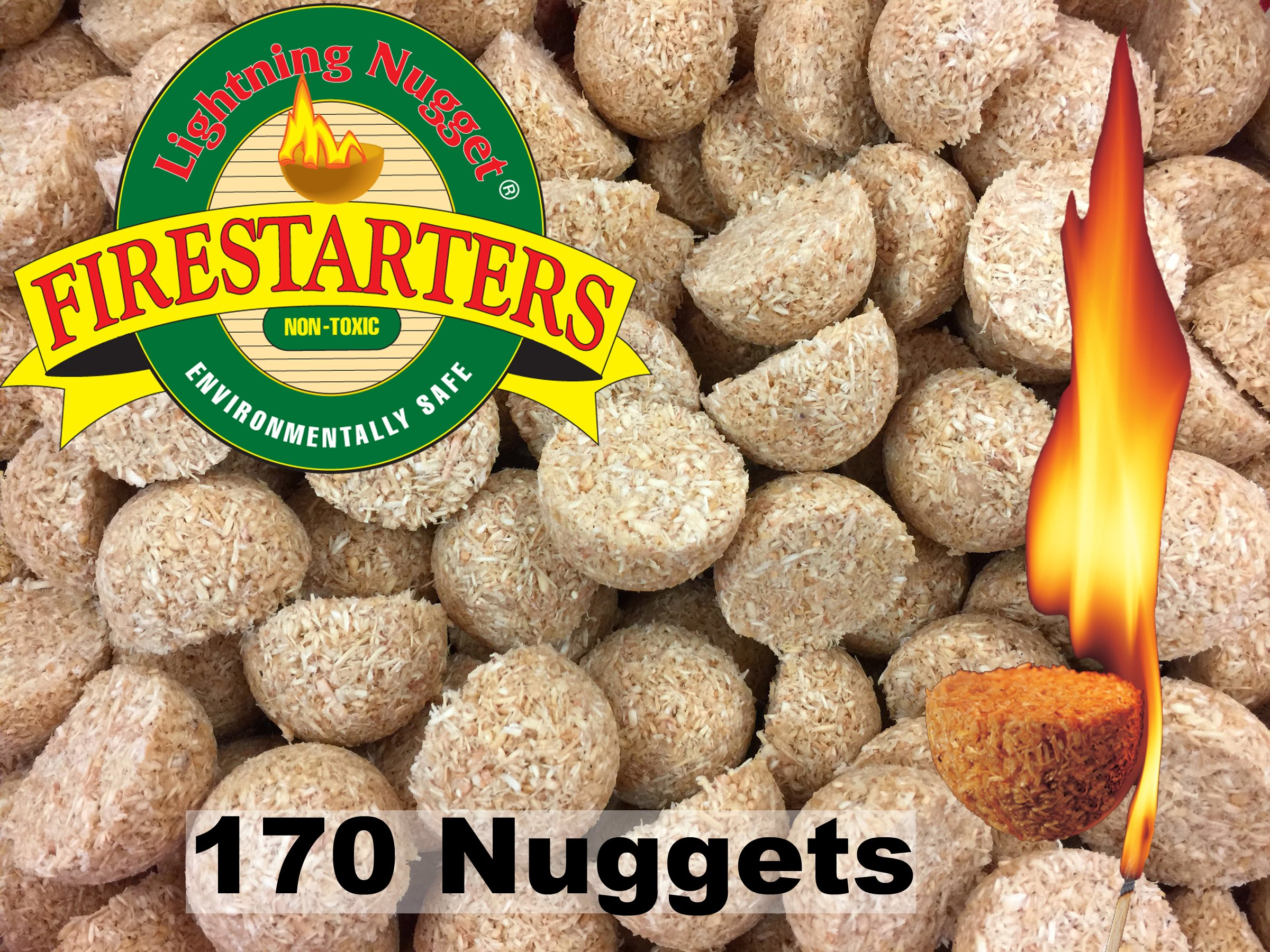 Lightning Nuggets AN170 Fire Starters, 2x2x1.1/4, Tan by Lightning Nuggets