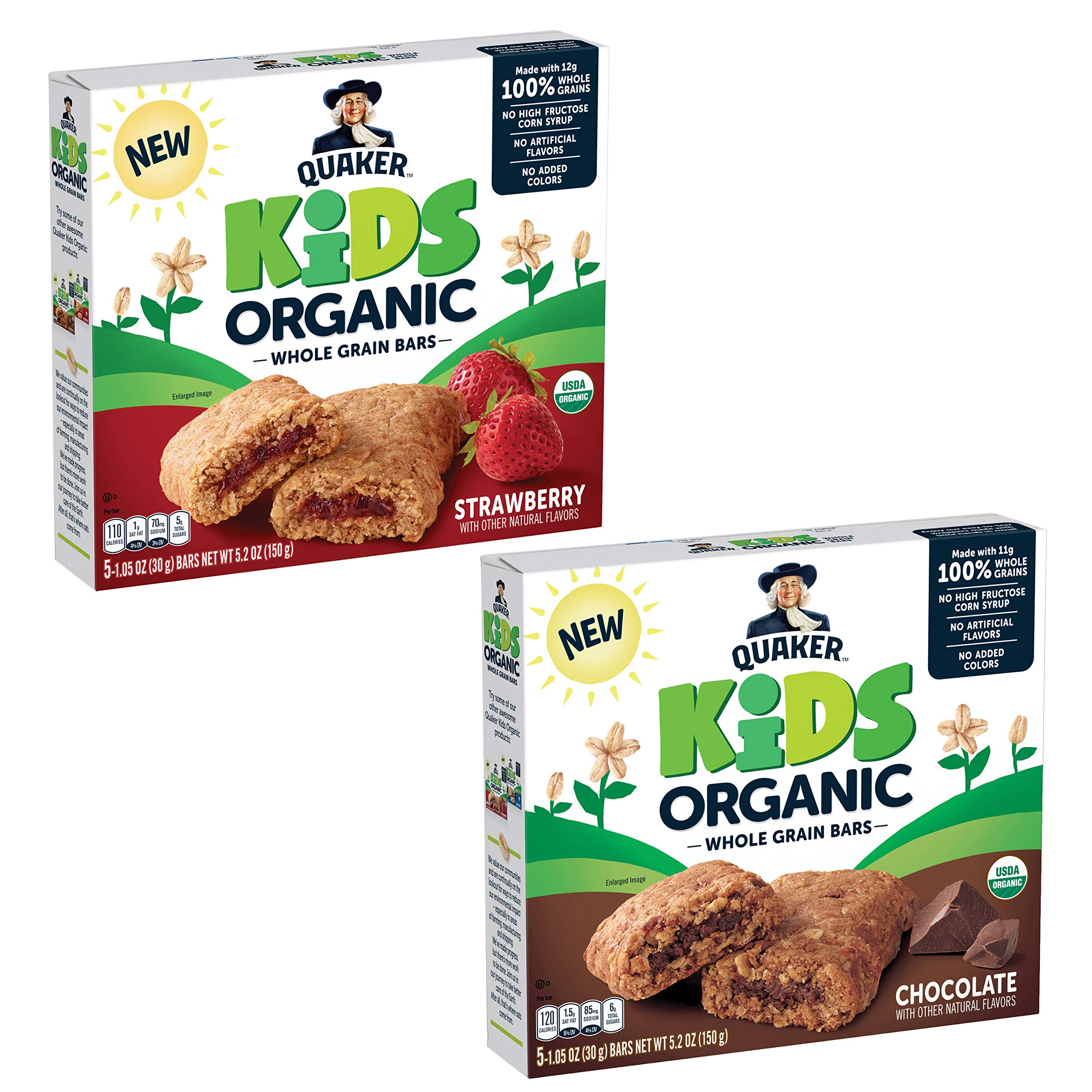 Quaker Kids Organic Whole Grain Bars, 2 Flavor Variety Pack, 1.05oz Bars, 20 Count by Quaker