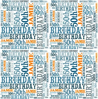 Personalised 50th Birthday Gift Wrap Any Name Age Word Art Design