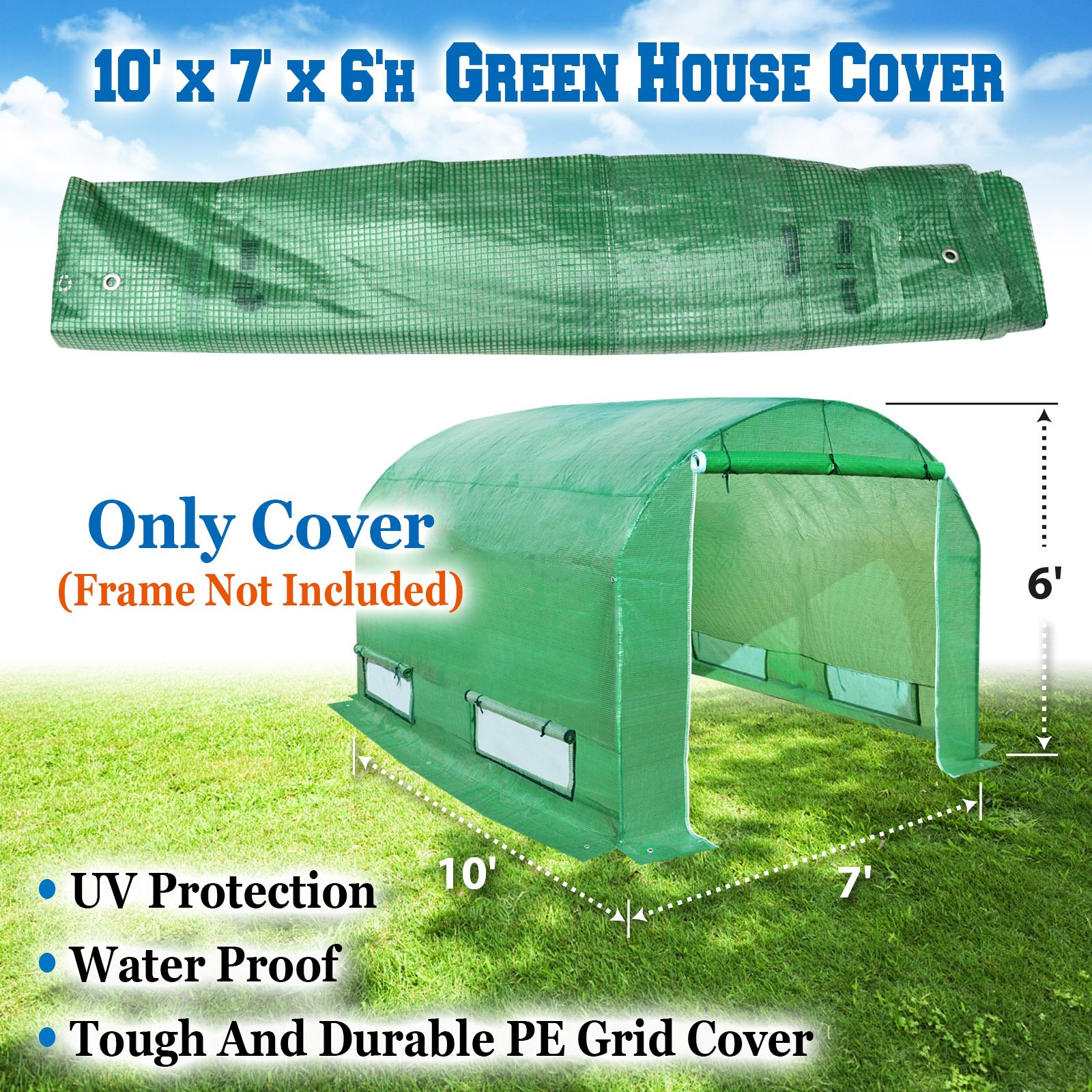 BenefitUSA Green House Replacement Spare Parts for 10'X7'X6'H Walk In Outdoor Plant Gardening Greenhouse (cover)