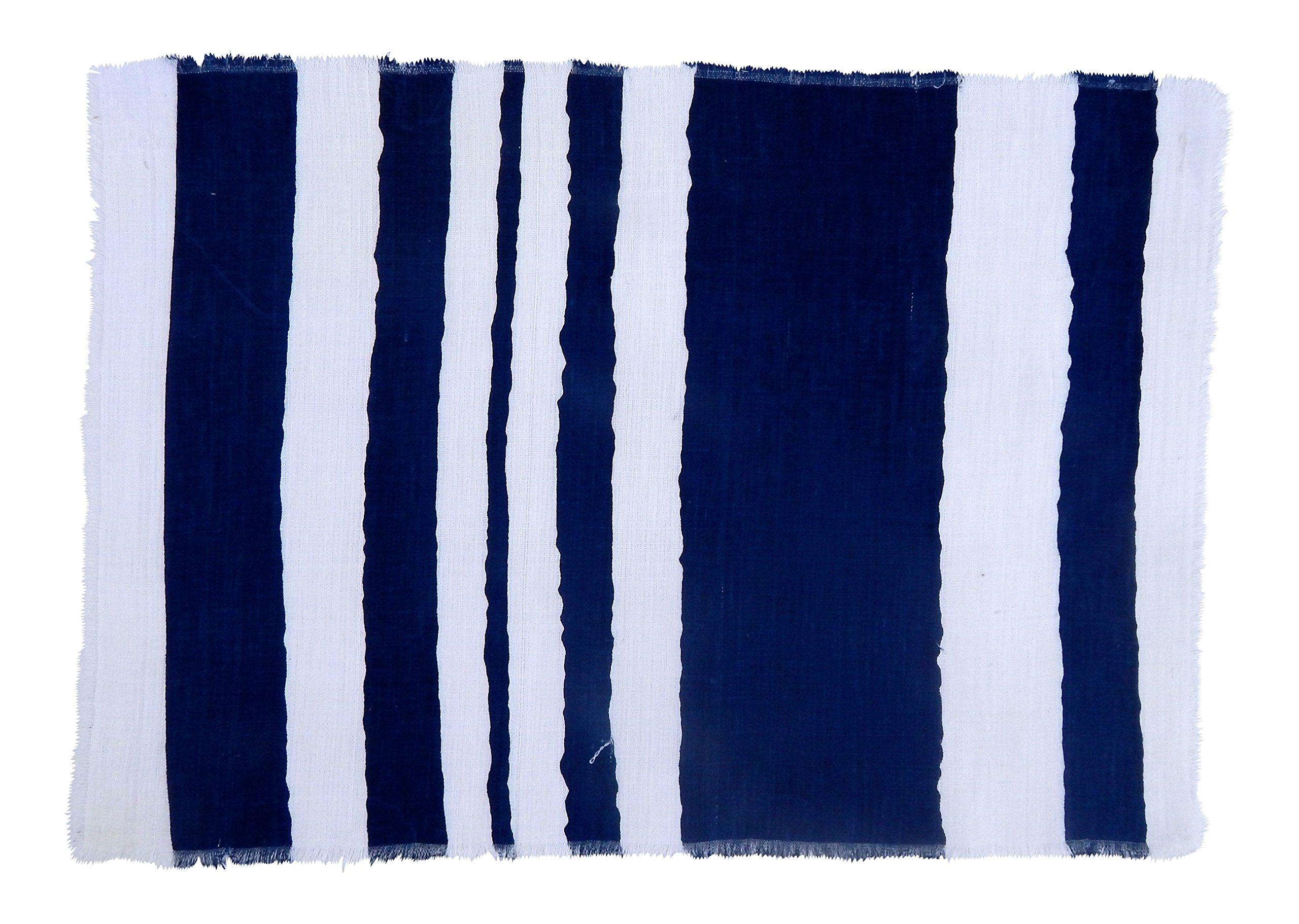Gitika Goyal Home Windows Collection Cotton Khadi  White Mat 17x12 Wave Design, Blue Hand Screen Print