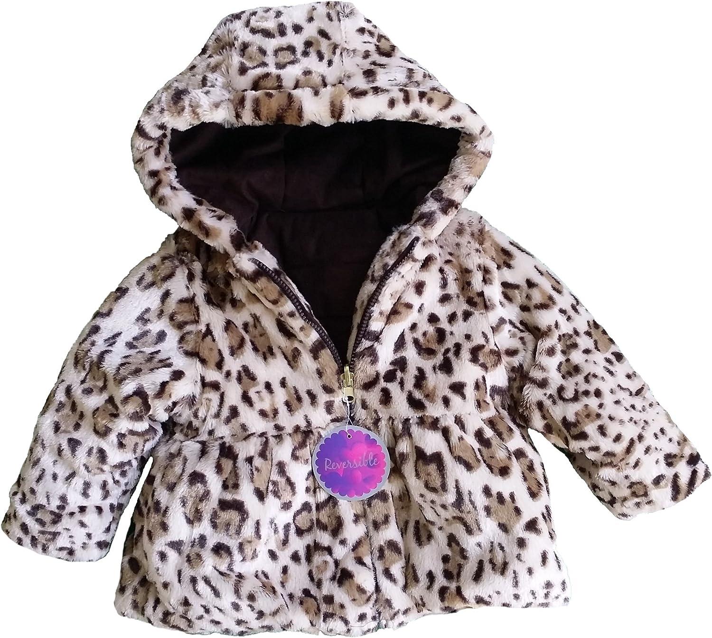 Pistachio Toddler Girls Jacket Brown Leopard Print Faux Fur Zip Hood NEW