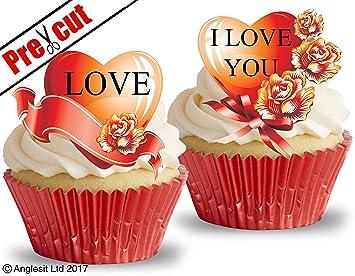 Precortado Amor Corazones V Arroz Comestible Oblea Papel Cupcake