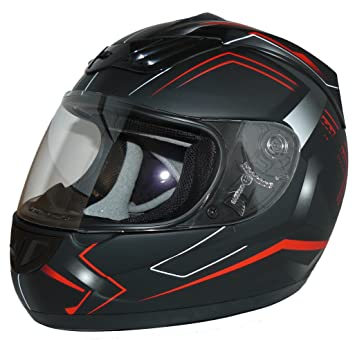 Protectwear Casco de Moto, Rojo/Negro, M