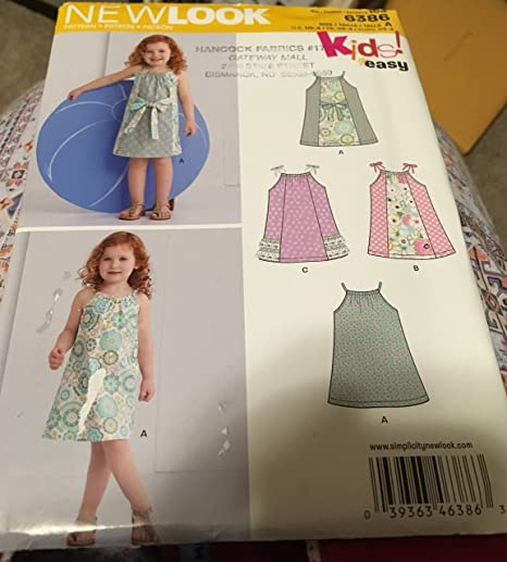 New Look 6386 Size A Toddlers Easy Pillowcase Dresses Sewing Pattern