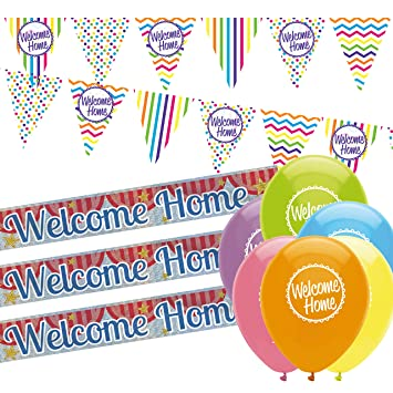 Welcome Home Decorations Pack: Welcome Home Bunting, Welcome Home Banners  And Balloons