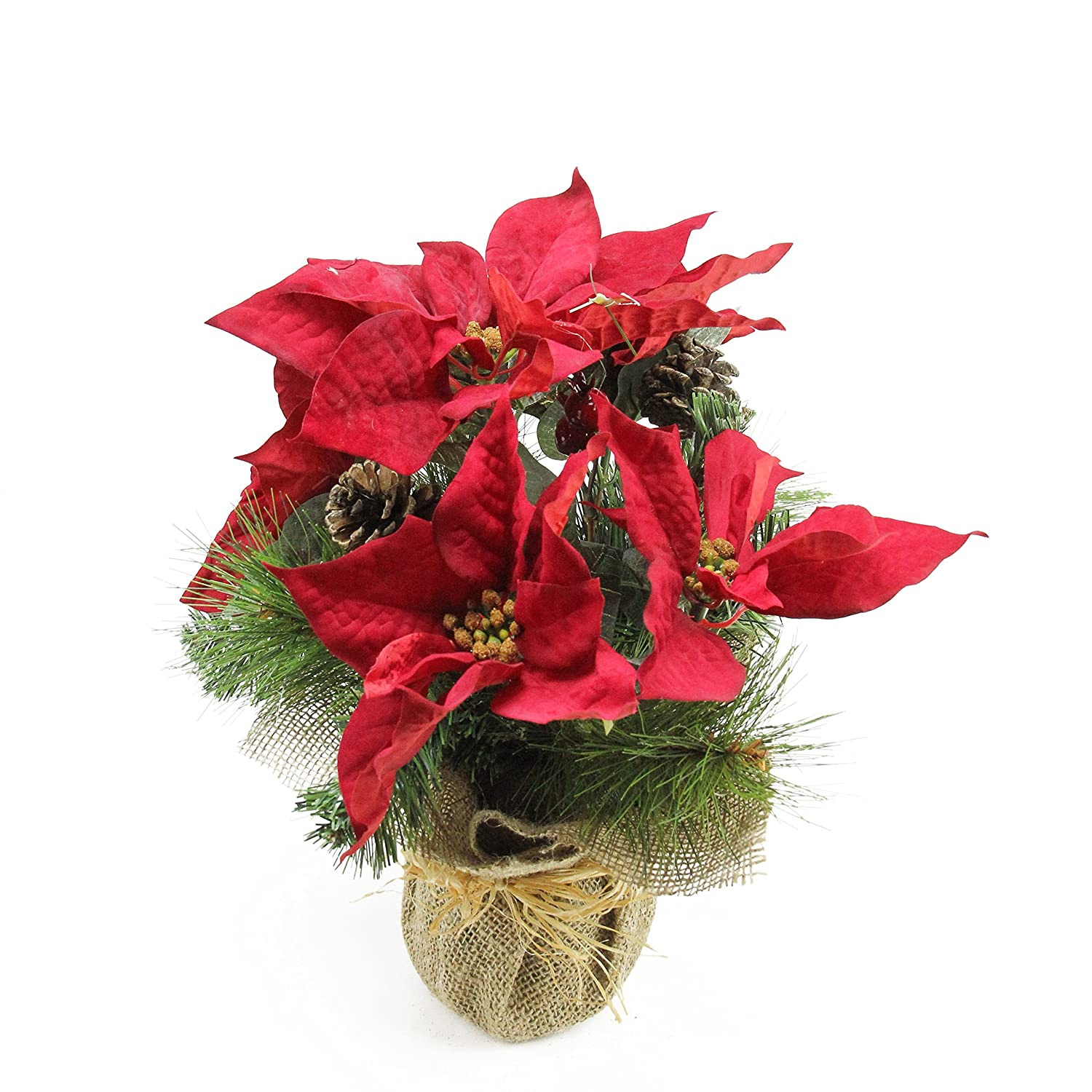 Metal Poinsettia Sleigh Decor