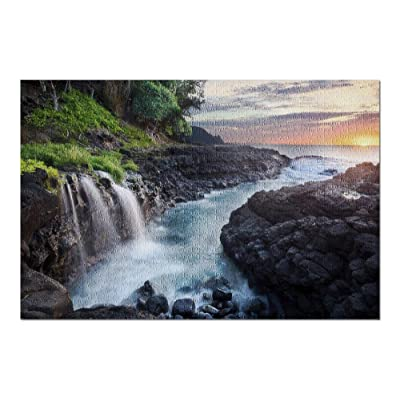 Kauai, Hawaii - Waterfall at Queen's Bath at Sunset 9031622 (Premium 1000 Piece Jigsaw Puzzle for Adults, 20x30, Made in USA!): Toys & Games