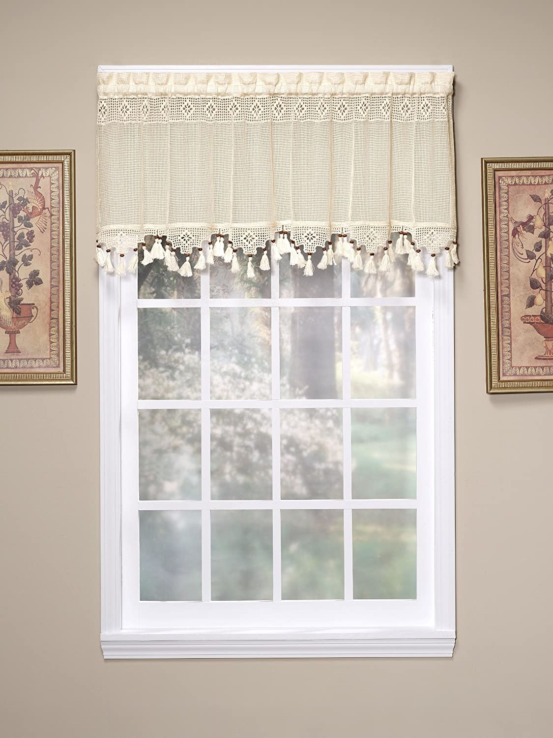Amazon.com: Todayu0027s Curtain Gettysburg Knitted 20 Inch Crochet With Beaded  Tassel Valance, Ecru: Home U0026 Kitchen