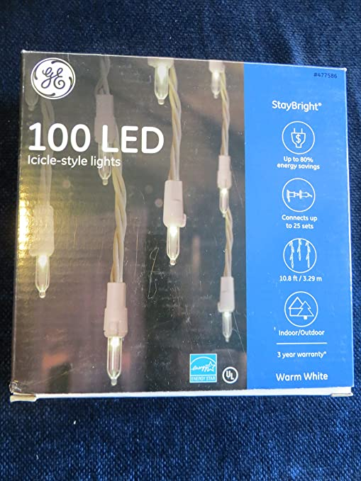 GE StayBright 100-Count Constant Warm White Mini LED Icicle Lights Christmas