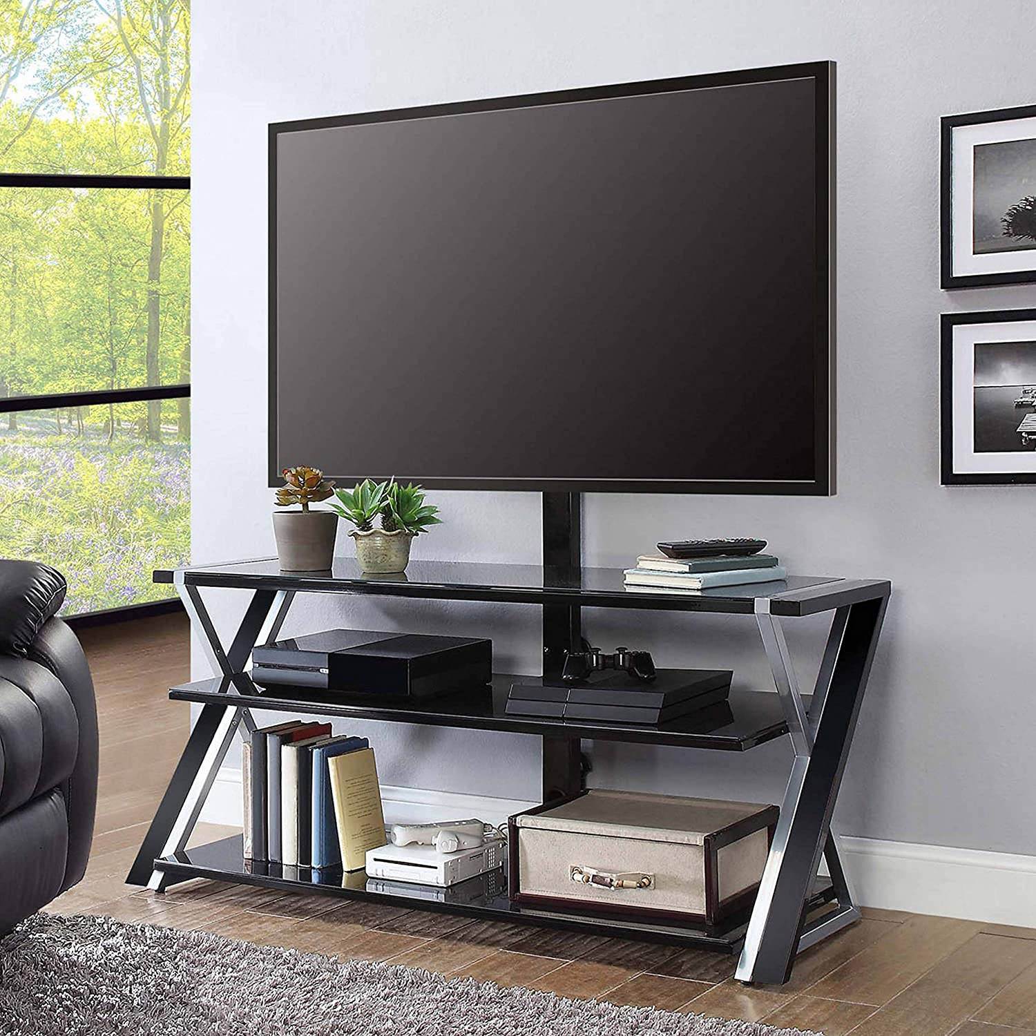 Whalen Furniture 3 In 1 Brown Tv Stand For Tvs Up To 70