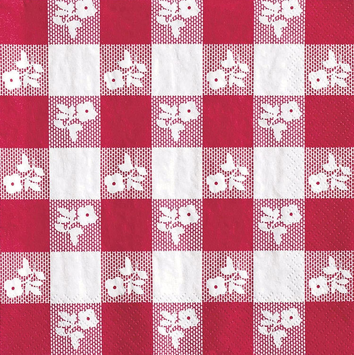 Creative Converting 150 Count Beverage Napkins, Red Gingham