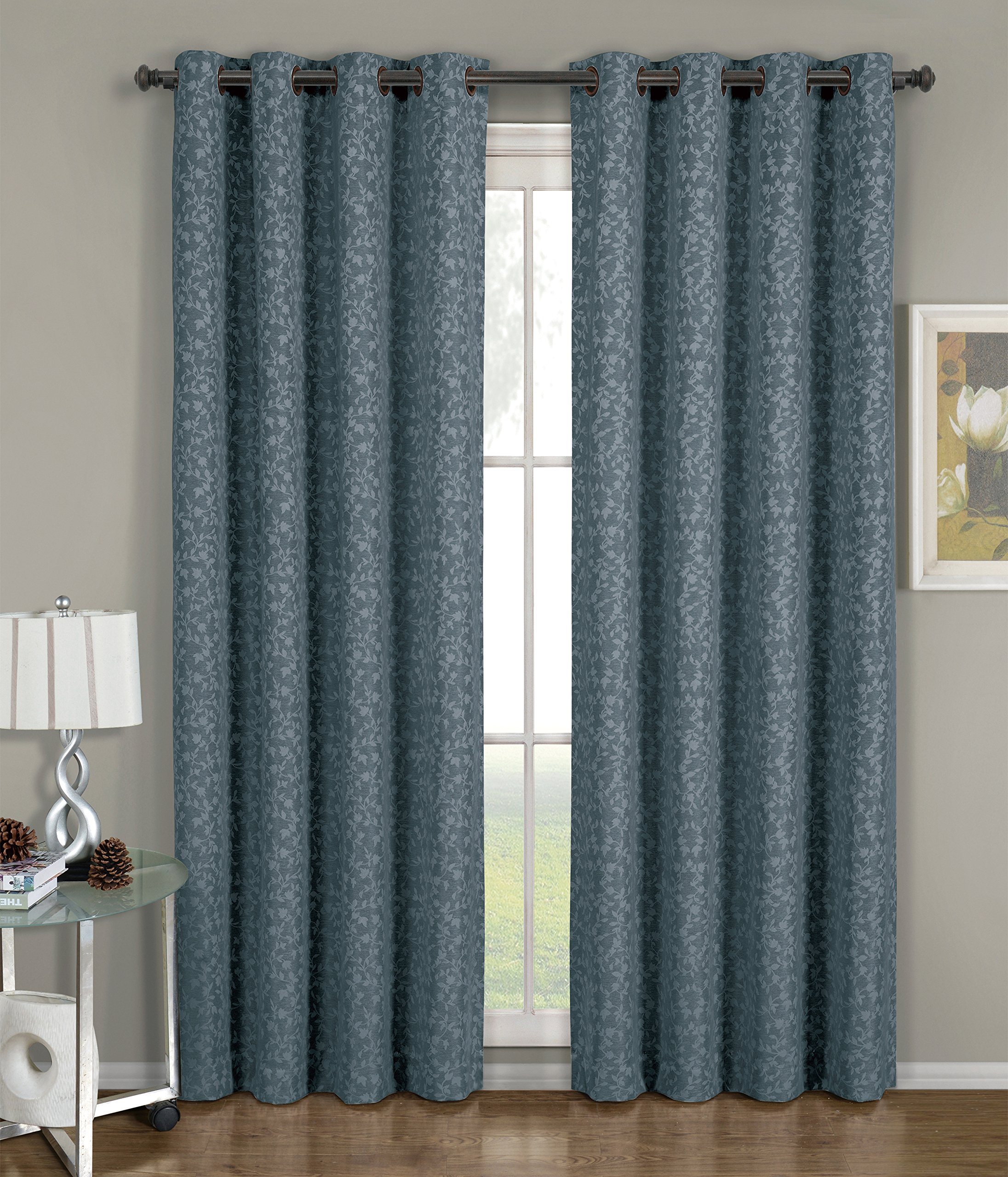 Fiorela Blue Grommet Jacquard Window Curtain Panel, 1 Single Panel, 54x96 inches, by Royal Hotel
