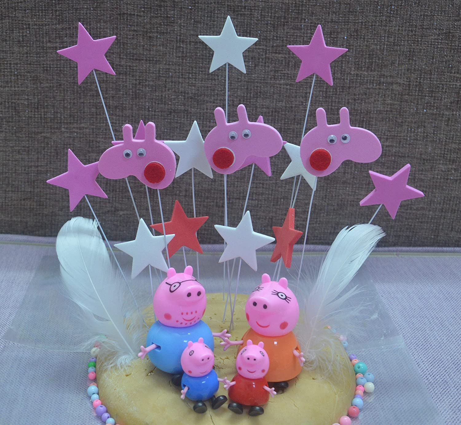 4pcs Peppa pig and a set of stars Cake Toppers Set Cupcake Toppers for Party Birthday Cake Decorations Peppa pig Cake Toppers Set